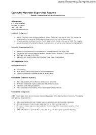 Computer Operator Resume Free Resume Templates 2018