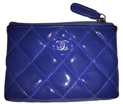 chanel zip coin purse. chanel chanel blue patent quilted zip coin purse with key ring! b