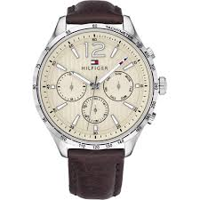 tommy hilfiger gents gavin brown leather watch