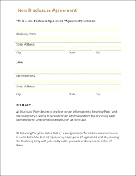 Nda Document Template Lovely Sample Template Simple Non Disclosure Agreement Form Free