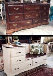 furniture hacks. Farmhouse Bliss! The Quirky Cottage Took An Old Discarded Dresser \u0026 Transformed Into A Gorgeous Bench With Storage Drawers And Built In Side Table. Furniture Hacks