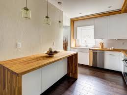 modern minimalist kitchen spaces with white wall interior color and dark hardwood floor tiles plus diy white cabinet with custom butcher block countertops