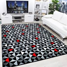 modern contemporary black grey cream red very funky extra large rug 160x225cm
