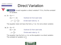 direct variation form direct variation solve each equation for the given variable ppt