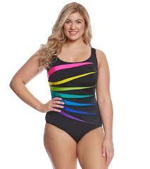 Longitude Swimwear Size Chart Longitude Plus Size Color Block Fan One Piece Swimsuit At Swimoutlet Com Free Shipping
