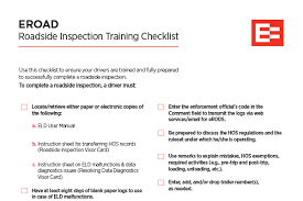 Roadside Inspection Checklist Eroad Usa