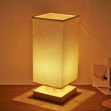 lighting for study room. nordic simple pastoral bedside lamp wood craft square base linen cloth lampshade bedroom living room study lighting for