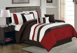 Modern Bedroom Comforters Brown And Red Bedding
