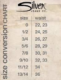 Silver Jeans Co Size Chart What Size Would I Be In Silver Jeans Yahoo Answers