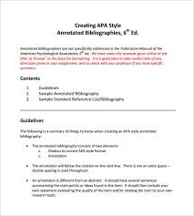apa 6th edition word template 7 annotated bibliography templates free word pdf format