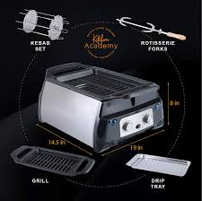 Open grills and contact grills. Amazon Com Kitchen Academy Electric Indoor Grill And Griddle Portable Rotisserie With Infrared Technology Includes Kebab Skewer Set Fries Basket Drip Tray Easy To Clean Home Improvement