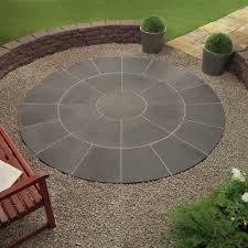 Scenic Exterior Grey Color Wood Stone Design Backyard Patio Paver Round  Shape Be Equipped Bench Fence