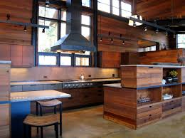 Rustic Cabin Kitchen Cabinets Salvaged Cedar Wood Panels The Kitchen Walls In This Modern Cabin