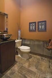 office wainscoting ideas. Vessel Sink, Tin Wainscoting, And A Dark Brown Paint For The Guest . Office Wainscoting Ideas