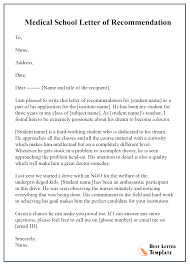 Medical School Letter Of Recommendation Sample Best Letter