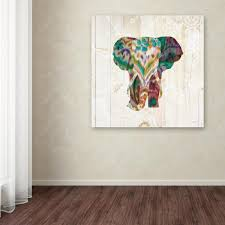 trademark fine art 14 in x 14 in boho paisley elephant iii