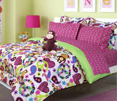 twin bed sheets sets hot pink green peace sign hearts monkey girl bedding  twin bed in . twin bed sheets ...