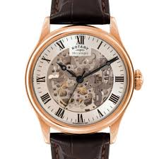 skeleton watches rotary watches men s rose gold plated skeleton watch