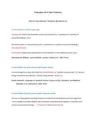 Examples Of Intext Citations Citation Romanticism