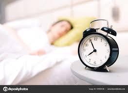 Young Sleeping Woman Alarm Clock Bedroom Home Very Shallow Depth U2014 Stock  Photo