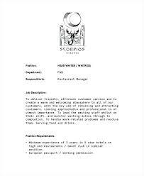 Head Waiter Jobs Restaurant Resume Waitress Job Description Duties ...