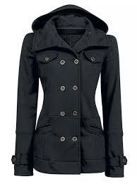 women s black double ted hooded thick cotton pea coat jacket with pockets