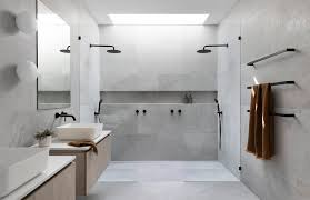 large tiles in a shower zephyr stone