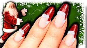 Christmas Hat Nail Design No Tools Santa Hat Nail Art Diy Easy Christmas Nails Red Glitter Nailart
