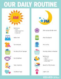 Printable Kids Printable Daily Routine Chart Kid To Kid