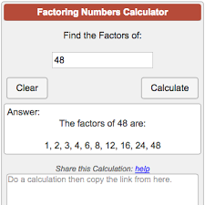 Greatest Common Factor Table Chart Factoring Calculator
