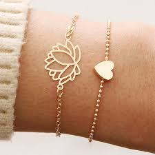 <b>2pcs</b>/set Women's Fashion Simple Bracelet Heart Lotus Shaped ...
