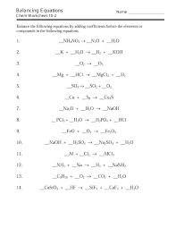 balancing chemical equations worksheets with answers exercises worksheet chemistry if8766