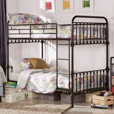 Inspire Q Regency Antique Dark Bronze Graceful Lines Iron Metal Bunk Bed  (Twin Bed Over Twin Bed), Brown