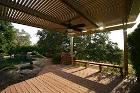 patio cover lighting ideas. charming alumawood patio cover in tan with ceiling fan light plus wooden bench for lighting ideas o