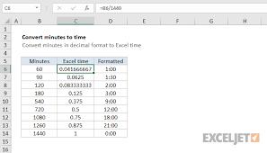 Excel Formula Convert Decimal Minutes To Excel Time Exceljet