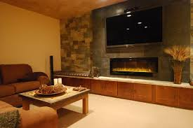 electric fireplace in family room contemporary with fireplace tv