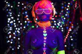 Clothes Under Black Light Fantastic Video Of Sexy Cyber Raver Woman Filmed In Fluorescent