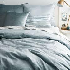 ... Washed Cotton Lustre Velvet Quilt Cover + Pillowcases - Dusty Blue ...