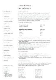 Bartender Resume Template Creative Free Bar Cv Staff Sample