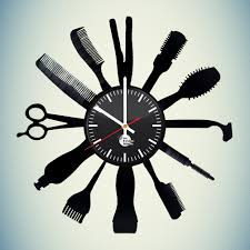 on wall clock art design with barber shop hairdresser handmade vinyl record wall clock decor