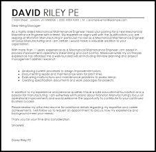 mechanical maintenance engineer cover letter sample maintenance engineer cover letter