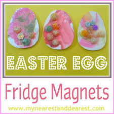 easy easter crafts for two year olds. buttons glitter glue and paint easter egg fridge magnet kids craft. these were made by two-year olds. easy crafts for two year olds y