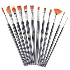 com 12 pieces set paint brushes heartybay black painting set round pointed tip nylon hair artist acrylic paint brushes watercolor oil painting