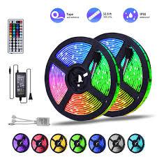 Ddeli Led Strip Lights Waterproof 32 8ft 5050 Rgb Led Rope Lights Led Tape Lights Flexible Mutil Color Changing With 44 Key Ir Remote Ideal For Home
