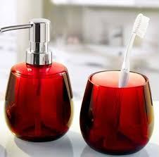 Excellent Red Glass Bathroom Accessories