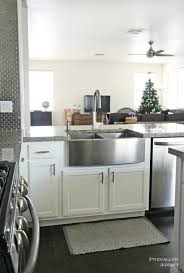 how install a sink stock cabinet pneumatic addict stainless steel white cabinets diy kitchen remodel farm