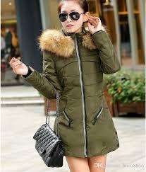 2018 2016 korean army green women padded winter warm fur collar jackets red black zipper girl down parkas coat jacket for lady l xl l xl from facai8866