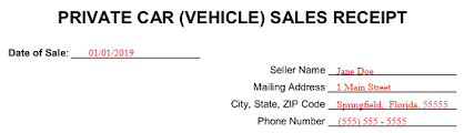 Receipt For Sale Of Car Free Vehicle Private Sale Receipt Template Pdf Word