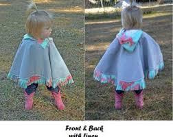 Fleece Poncho Pattern With Hood Impressive Girls' Ponchos Etsy