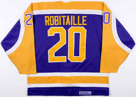 Worn Match Luc Jersey Game amp; Gamewornauctions 50-goal 2nd 1st Season Kings Nhl Robitaille Angeles net 100-point 1987-88 - Los Photo